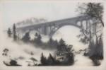 "Brooks Shane Salzwedel - the Pass graphite, tape, mylar & resin on panel, 25.5x37.5"",  2012"