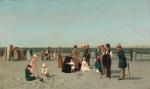 Samuel S Carr-Beach Scene-c1879-oil on canvas
