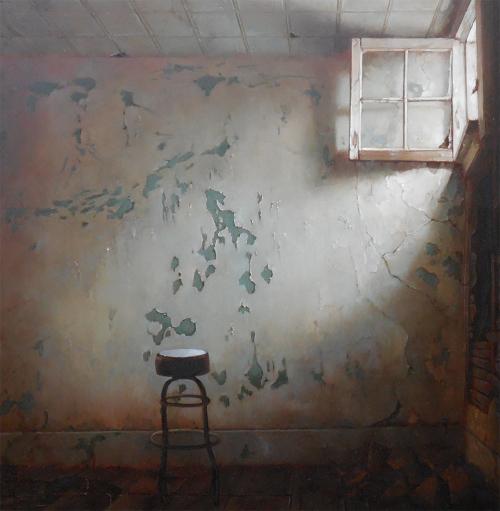 "Dina Brodsky - And Take My Waking Slow (2013) oil on mylar, 9x9"""
