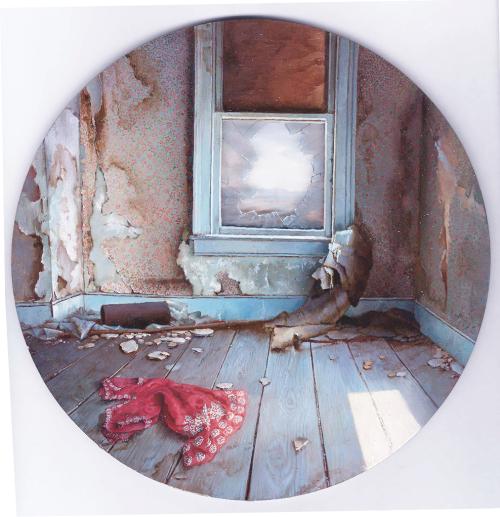 "Dina Brodsky – Gone I (2013) oil on Plexiglas, 8x8"""